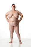 360 degree rotatable view of an obese nude female art model in a dynamic standing art reference pose for sculptors and painters