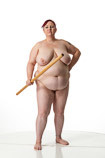 360 degree rotatable view of a full-figured nude female art model in a dynamic standing art reference pose for sculptors and painters