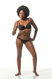 African American female in a standing art reference pose for sculptors and painters
