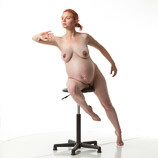 Dynamic art post of nude pregnant female