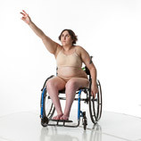 360 degree views of a female art model with spina bifida posing in a wheelchair