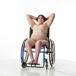 360 degree views of a female art model with spina bifida posing in her wheelchair
