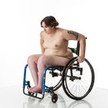 360 degree views of a nude female art model with spina bifida posing in her wheelchair. Perfect reference photos for sculptors and painters.