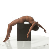 Sculpture and painting reference photo of a nude black female stretched out laying on her back