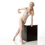 360 degree rotatable art reference photo of a nude female art model in a pose perfect for sculptors, painters and art students