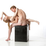 Nude male and female models posing for fine art reference