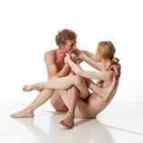 Male and female nude art models in pairs pose ideal for sculptors, painters and art students