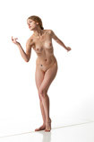 360 degree rotatable art reference photo of a nude female artist's model in a pose perfect for sculptors, painters and art students