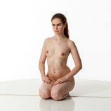 360 degree art reference photos of a nude female art model with natural pubic hair kneeling on the floor