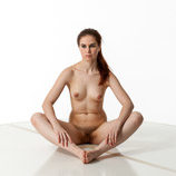 360 degree art reference photos of a nude female art model with natural pubic hair sitting on the floor