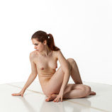 360 degree art reference photos of a nude female art model with natural pubic hair in a sitting pose