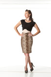 360 degree artistic reference photos of a slim pin-up model in a gold pencil skirt