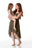360 degree art pose reference images of a young mother with her daughter
