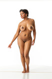 Nude 360 degree artist reference photos of a full figured African American female art model for sculpture, figure drawing and anatomy reference and art students