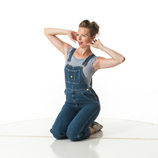 360 degree art reference photos of a classic slim pin-up model in bib overalls