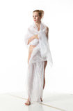 360 degree artistic reference photos of a tall nude blond female art model draped in white cloth for figure art