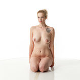 Nude 360 degree artistic reference photos of a tall blond female artist's model with large breasts in poses for painters and sculptors