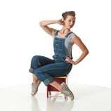 360 degree art reference photos of a classic slim pin-up model in blue jean bib overalls