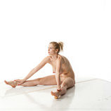 360 degree nude art photos of a tall blond female life drawing model with large breasts in artistic reference poses for artists and students