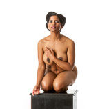 360 degree artist reference photos of a nude full figured black female figure model for sculpture and figure art