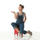 360 degree art reference photos of a young classic pin-up model in blue jean bib overalls