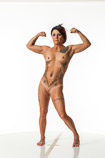 Nude 360 degree art reference photos of a fitness female art model for use by figure artists and art students