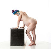 360 degree art reference photos showing a nude pregnant female posed for painters and sculptors