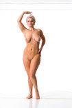 360 degree nude art reference photos of a curvy female art model with short blond hair posed for figure painters and sculptors