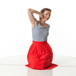 360 degree art reference photos of a young classic pin-up model wearing a red skirt and striped top