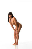 360 degree art reference photos of a slim dark haired nude female art model for use by figure artists and art students